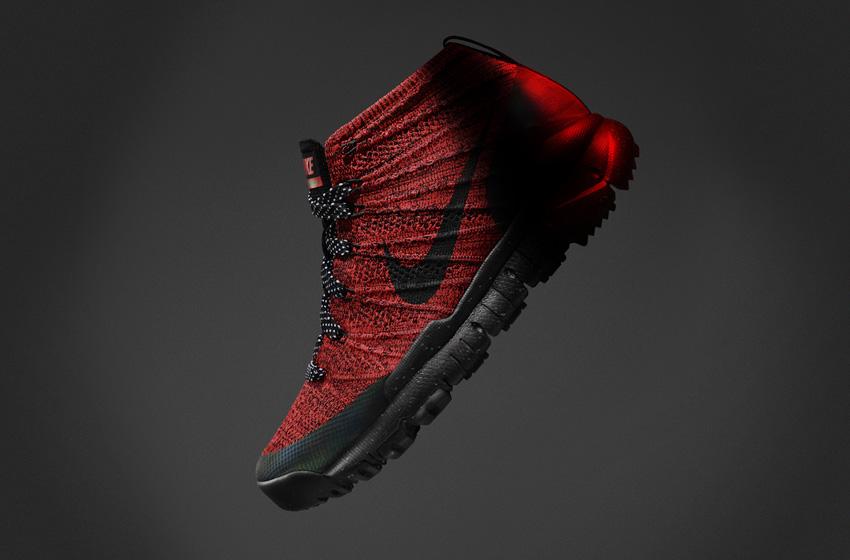 Nike Flyknit Trainer Chukka SneakerBoot — dámské zimní boty, kotníkové, červené, vlněné, s reflexními prvky