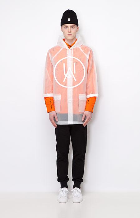 Ucon Acrobatics — oranžová košile s dlouhým rukávem, pánská — joggers kalhoty, černé — pánské oblečení — podzim/zima 2015