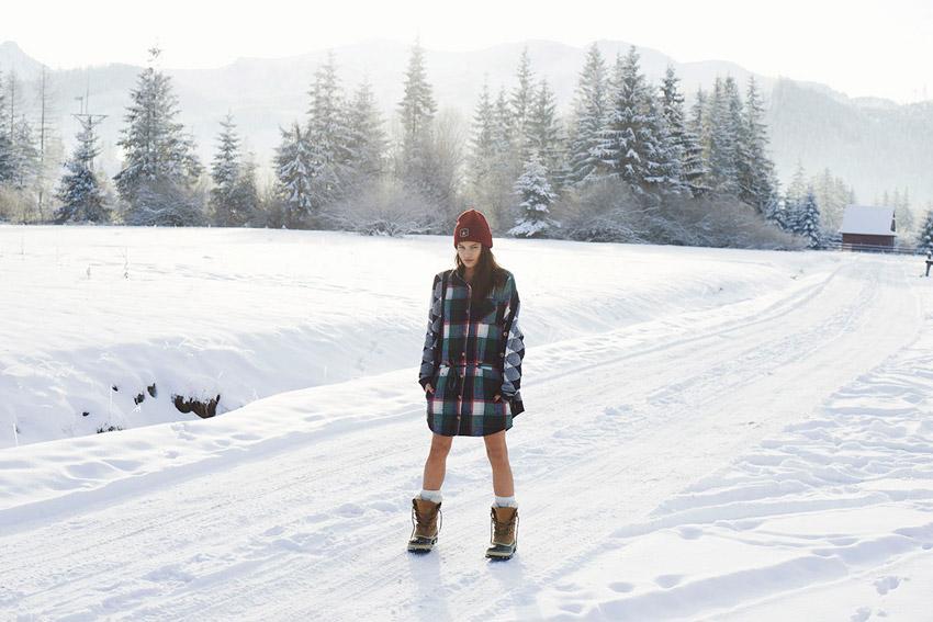 Femi Pleasure — kostkovaný zimní kabát, dámský — dámské oblečení podzim/zima — fall/winter 2015