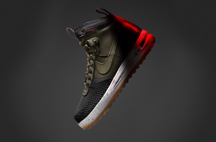 Nike Lunar Force 1 DuckBoot — pánské zimní boty, vysoké kotníkové, tmavě zelené, vlněné, s reflexními prvky