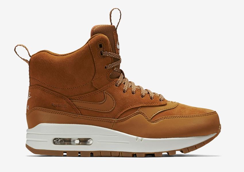 Nike Air Max 1 Mid Waterproof — dámské zimní boty, vysoké — voděodolné, semišové — kotníkové sneakers — hnědé, sneakerboots