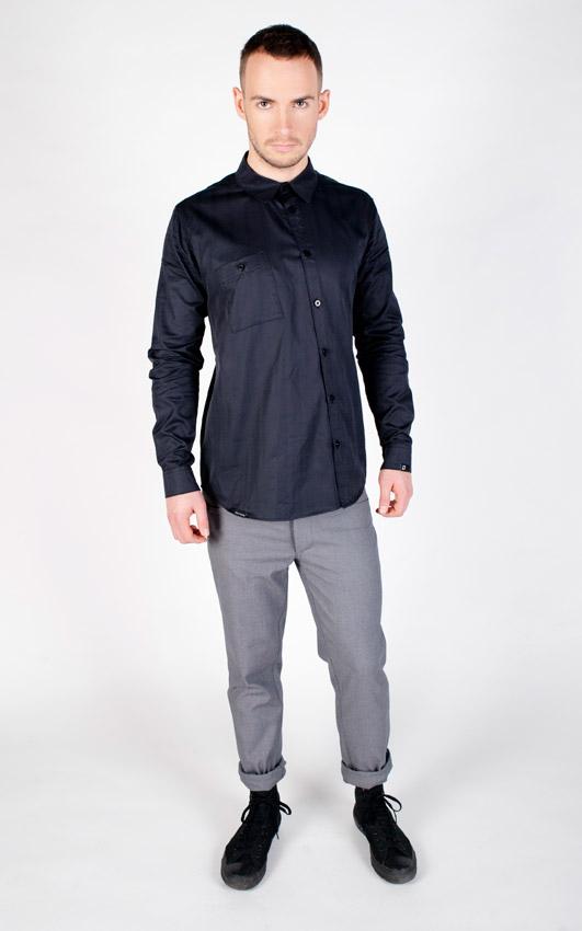 Pattern — košile s dlouhým rukávem, modrá — pánská