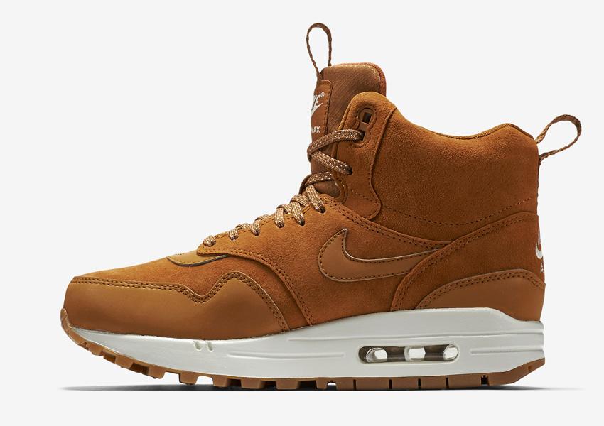 Nike Air Max 1 Mid Waterproof — dámské zimní kotníkové boty — voděodolné, semišové — vysoké sneakers — hnědé, sneakerboots