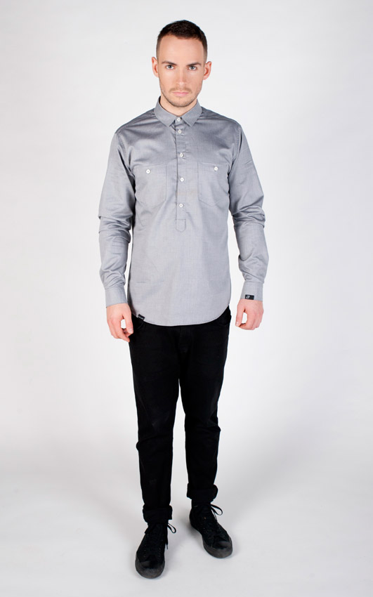 Pattern — šedá košile s dlouhým rukávem — pánská