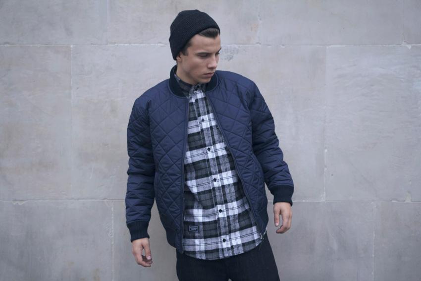 Backyard Cartel — pánský bomber, podzimní/zimní, street — prošívaná bunda do pasu, modrá