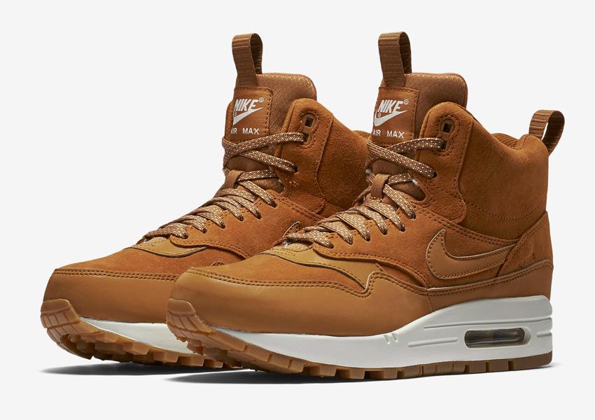 Nike Air Max 1 Mid Waterproof — zimní boty, dámské — nepromokavé kotníkové sneakers — světle hnědé, sneakerboots