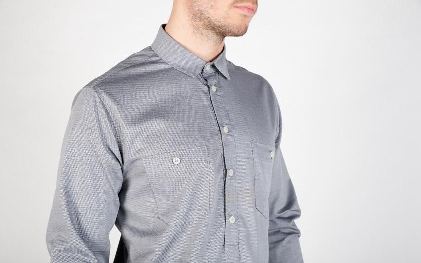 Pattern — pánská košile s dlouhým rukávem — šedá