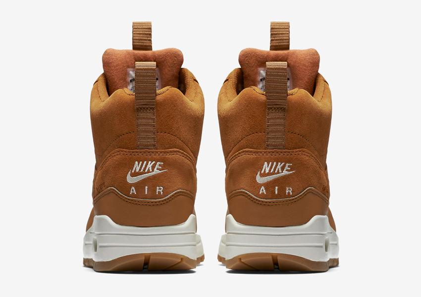 Nike Air Max 1 Mid Waterproof — dámské zimní kotníkové boty, hnědé — nepromokavé sneakers — zadní pohled
