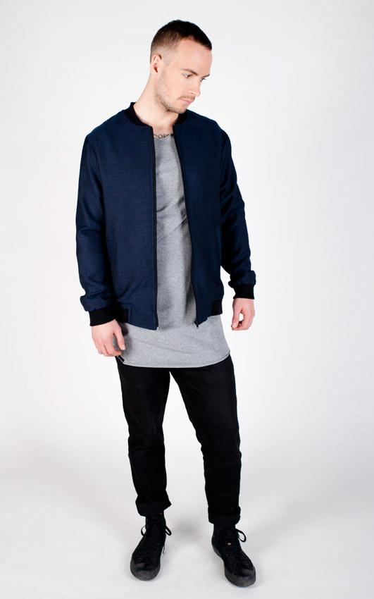 Pattern — modrá pánská bunda do pasu — bomber, vlněný