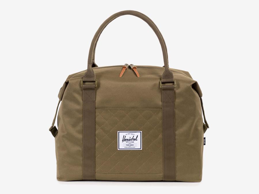Taška Herschel Supply — Strand Duffle — dámská cestovní taška do ruky — zelená-hnědá, army, prošívaná — kolekce Quilted