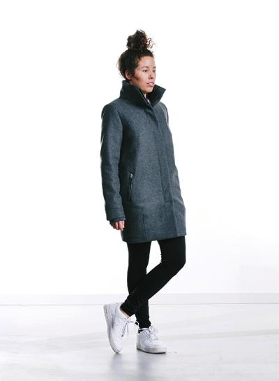 Wemoto — dámský vlněný kabát se stojáčkem — šedý — podzim/zima 2015