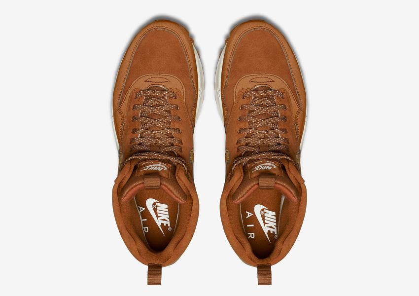 Nike Air Max 1 Mid Waterproof — dámské zimní kotníkové boty — voděodolné sneakers, hnědé — horní pohled