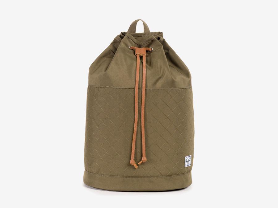 Batoh Herschel Supply — Hanson Backpack — dámský plátěný batoh — hnědý-zelený, army, prošívaná — kolekce Quilted