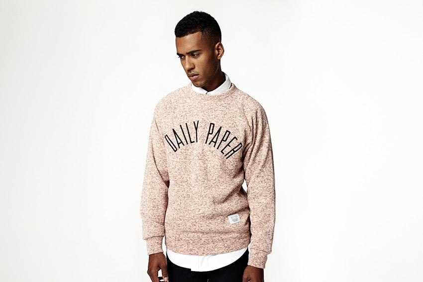 Daily Paper — melírový svetr, pánský, lososová barva — podzimní/zimní oblečení 2015