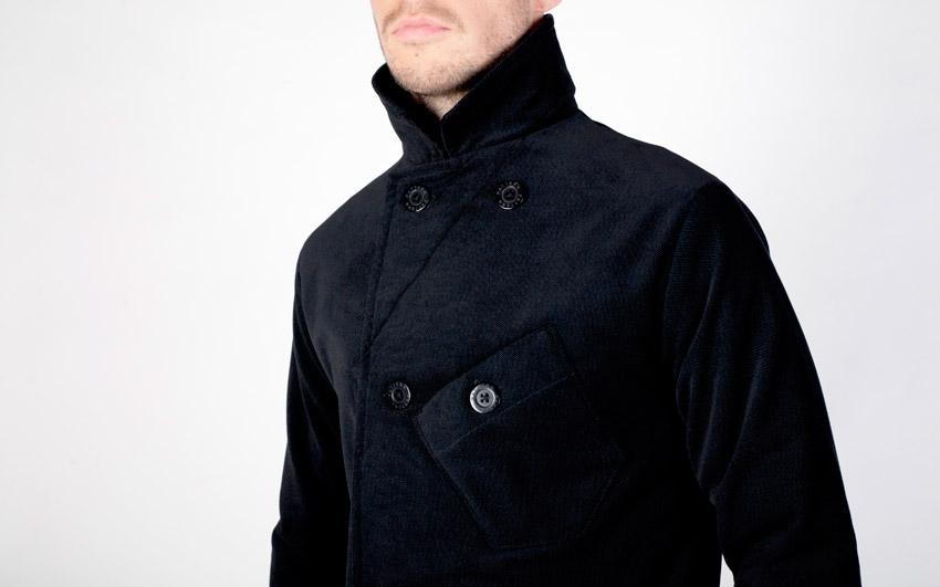 Pattern — pánský kabát se stojáčkem, tmavě modrý