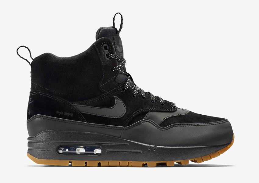 Nike Air Max 1 Mid Waterproof — dámské zimní boty, vysoké — voděodolné, semišové — kotníkové sneakers — černé, sneakerboots