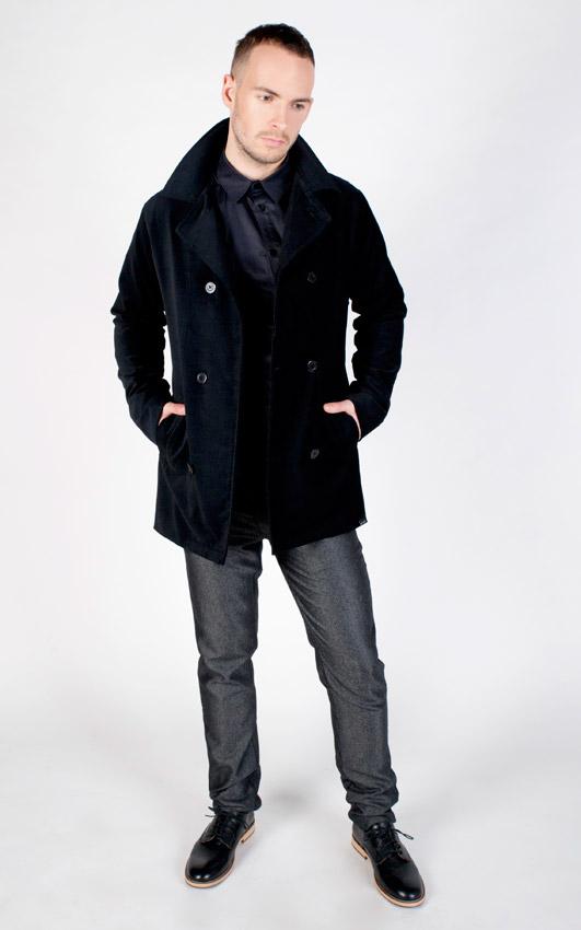 Pattern — modrý kabát se stojáčkem, pánský