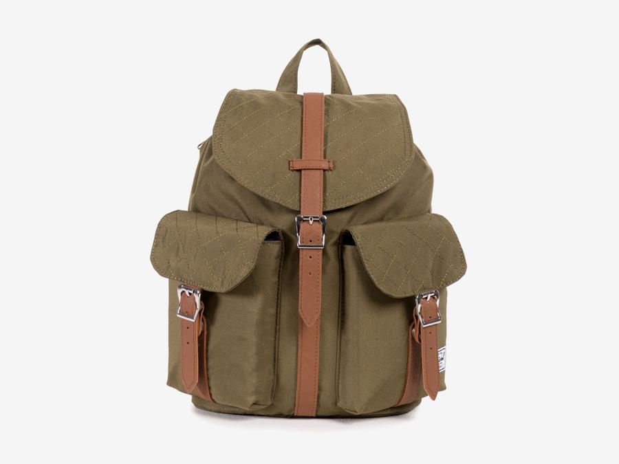 Batoh Herschel Supply — Dawson Backpack – Mid-volume — dámský plátěný batoh — hnědý-zelený, army, prošívaný — kolekce Quilted