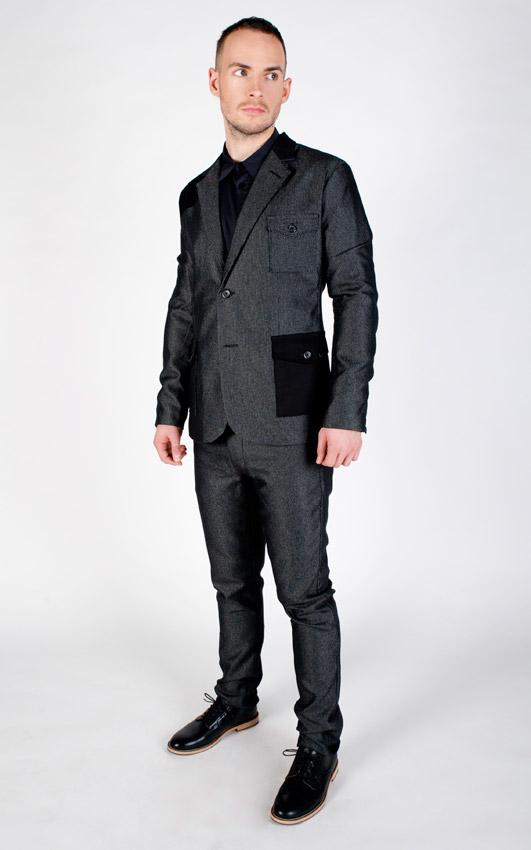 Pattern — pánské sako, kalhoty — tmavě šedé, lesklé, vlněné
