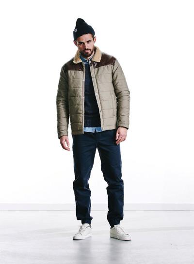 Wemoto — podzimní/zimní prošívaná bunda, kožešinový límec — béžová, pánská — podzim/zima 2015
