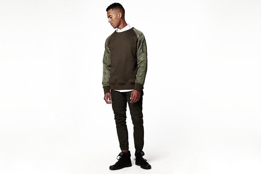 Daily Paper — pánská tmavě hnědá mikina, lesklé zelené rukávy — podzimní/zimní oblečení 2015