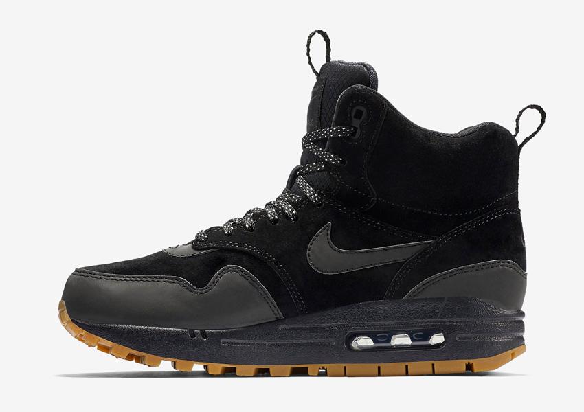 Nike Air Max 1 Mid Waterproof — dámské zimní kotníkové boty — voděodolné, semišové — vysoké sneakers — černé, sneakerboots