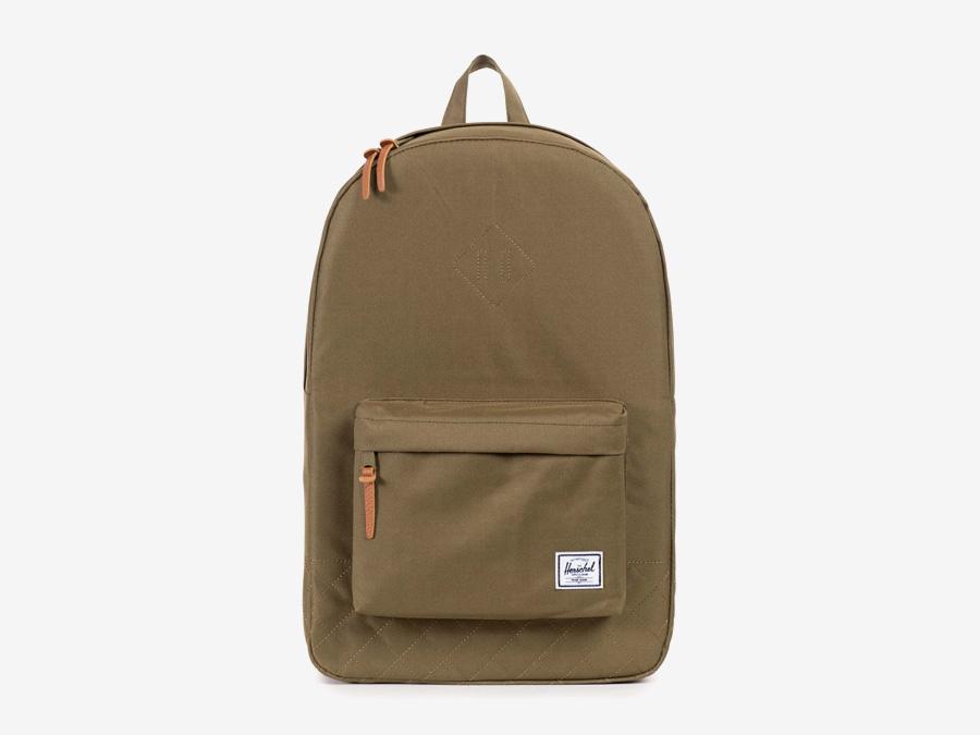Batoh Herschel Supply — Heritage Backpack — dámský plátěný batoh — hnědý-zelený, army, prošívaný — kolekce Quilted