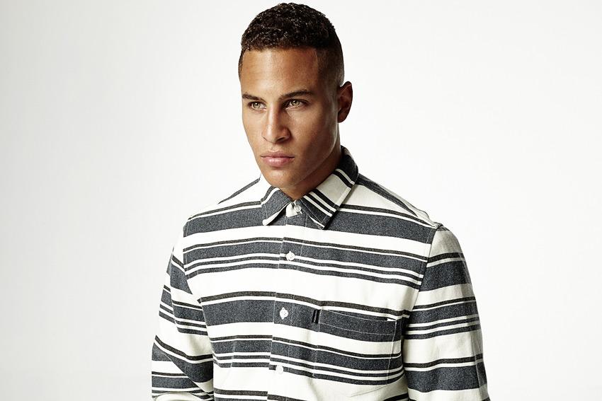 Daily Paper — pruhovaná šedo-bílá košile s dlouhým rukávem, pánská — podzimní/zimní oblečení 2015