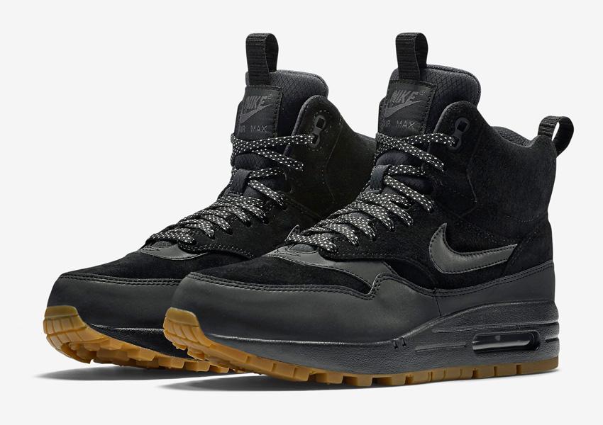 Nike Air Max 1 Mid Waterproof — zimní boty, dámské — nepromokavé kotníkové sneakers — černé, sneakerboots