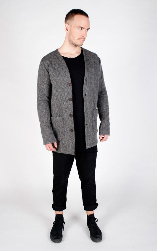 Pattern — šedý cardigan, vlněný svetr, pánský — černé kalhoty