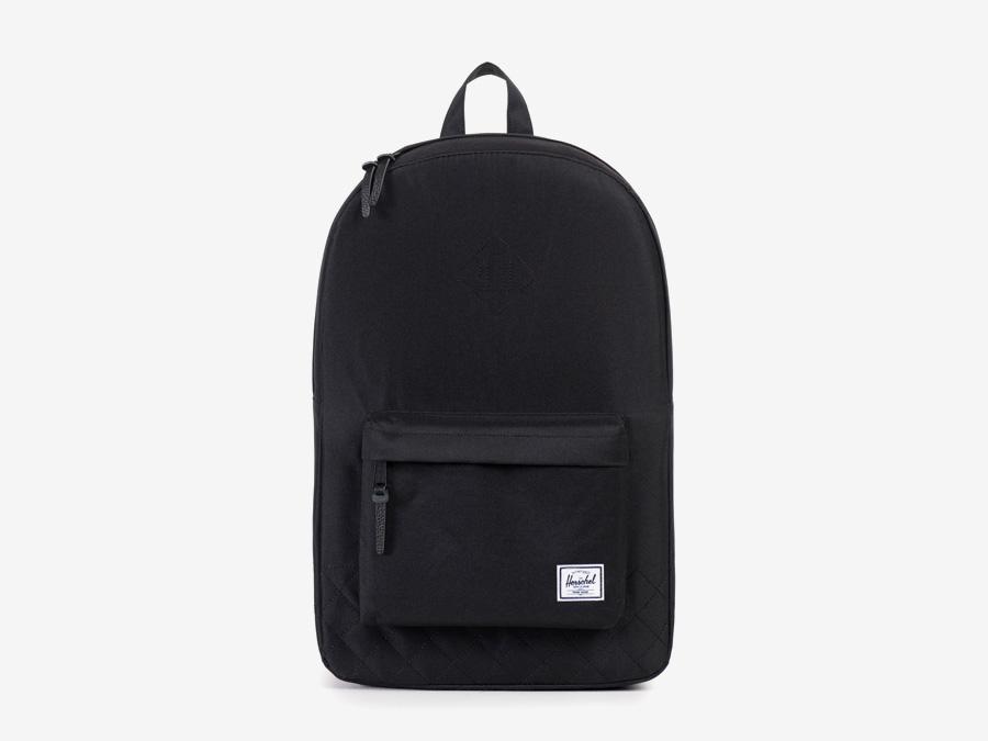Batoh Herschel Supply — Heritage Backpack — dámský plátěný batoh — černý, prošívaný — kolekce Quilted