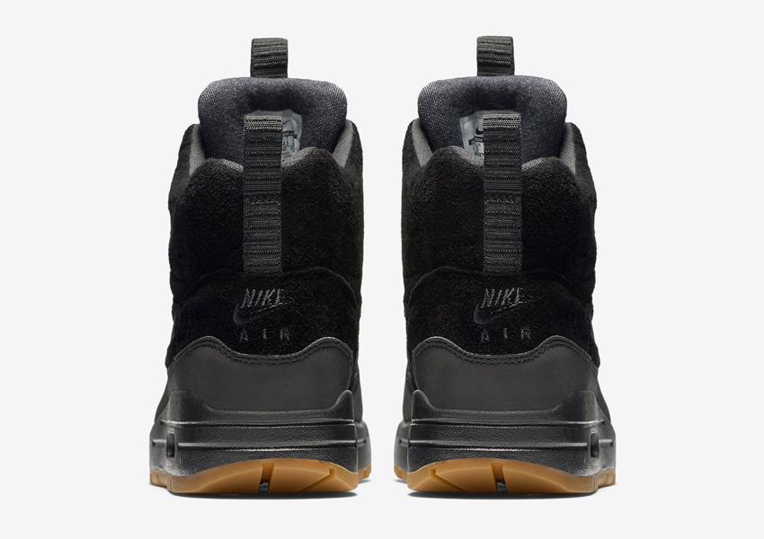 Nike Air Max 1 Mid Waterproof — dámské zimní kotníkové boty, černé — nepromokavé sneakers — zadní pohled