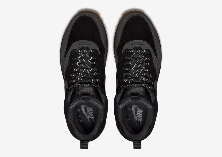 Nike Air Max 1 Mid Waterproof — dámské zimní kotníkové boty — voděodolné sneakers, černé — horní pohled