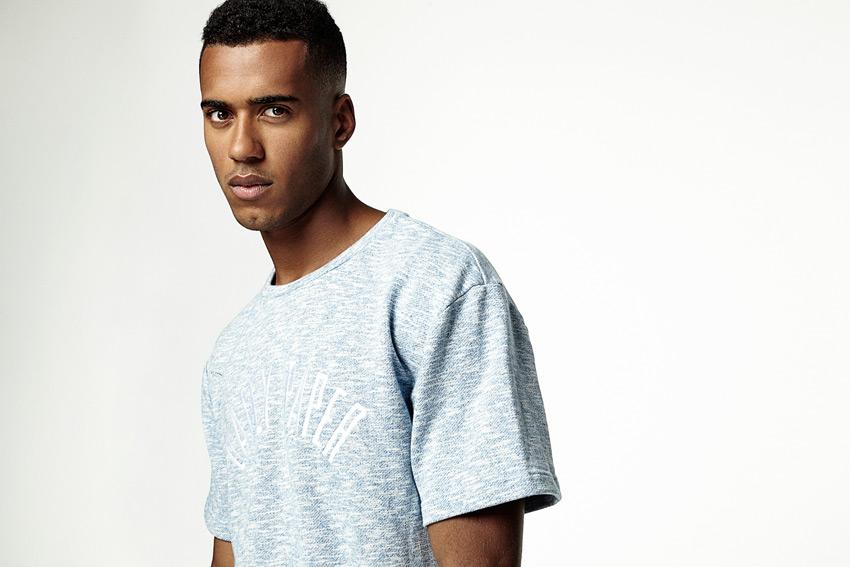 Daily Paper — pánské melírové tričko, bledě modré — podzimní/zimní oblečení 2015