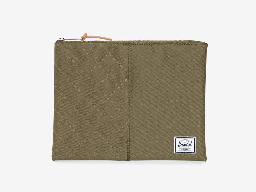 Pouzdro Herschel Supply — Network Pouch L/XL — zelené-hnědé, army, prošívané — psaníčko, pouzdro pro dokumenty — kolekce Quilted