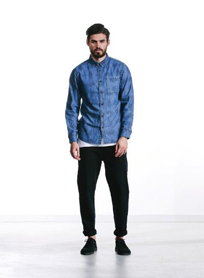 Wemoto — modrá džínová (jeansová, riflová) košile, dlouhý rukáv — pánská — podzim/zima 2015