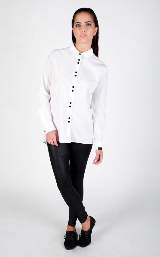 Pattern — dámská bílá košile, dlouhý rukáv — jemný vzor