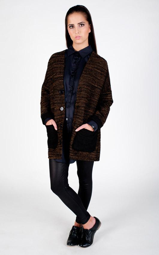 Pattern — dámský kardigan s kapsami, cardigan, vlněný svetr — černo-hnědý