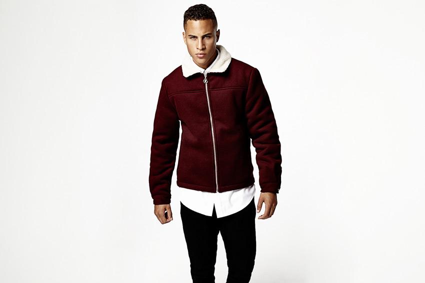 Daily Paper — tmavě červená vlněná bunda s polyesterovým kožíškem — podzimní/zimní oblečení 2015