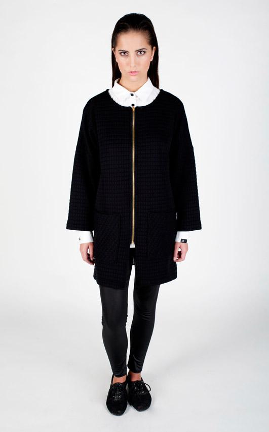 Pattern — dámský kardigan s kapsami, cardigan, svetr na zip — černý