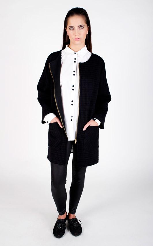 Pattern — dámský svetr se zipem, kardigan s kapsami, reliéfní vzor, waffle — černý