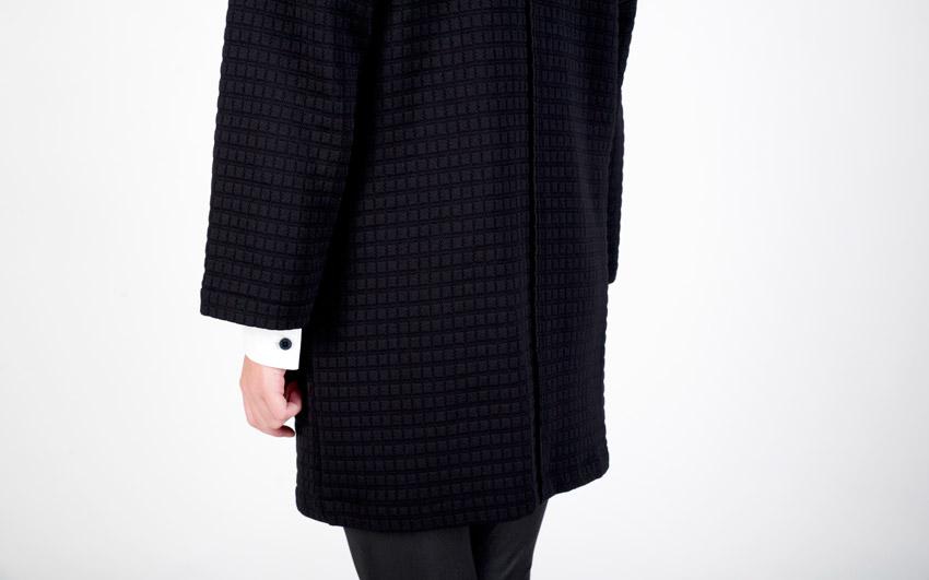 Pattern — svetr na zip, dámský kardigan s kapsami, embosovaný vzor — černý
