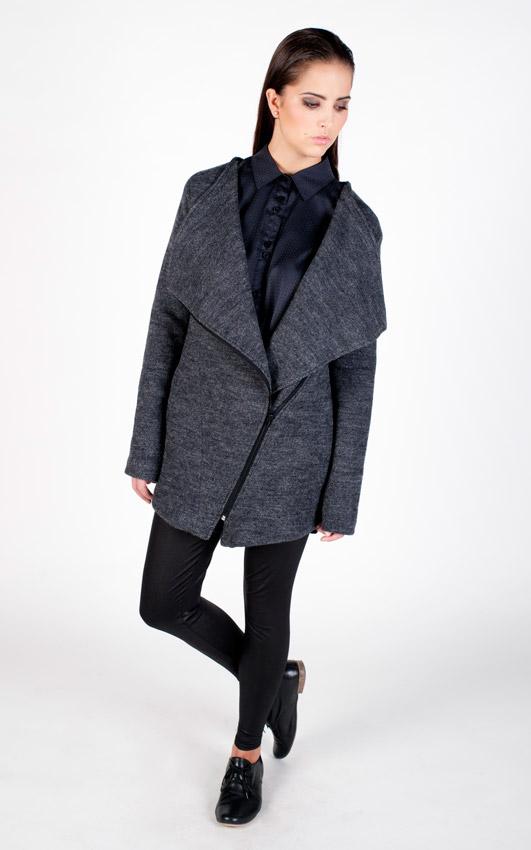 Pattern — vlněná bunda, dámská — šedá