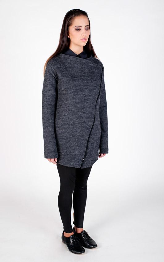 Pattern — bunda z vlny, dámská, kabát, dámský — šedá