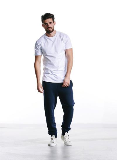 Wemoto — modré tepláky, pánské — bílé tričko — podzim/zima 2015