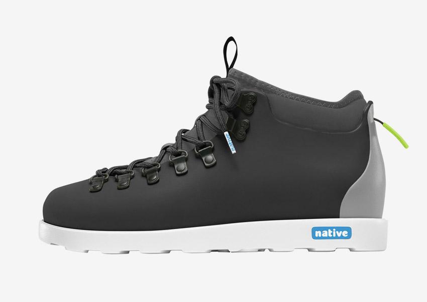 Native Shoes — zimní boty, veganské, tmavě šedé, plastové, voděodolné, pohorky — pánské, dámské — Fitzsimmons