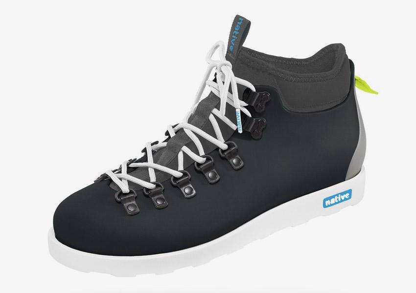 Native Shoes — zimní boty, veganské, pohorky, tmavě šedé, plastové, voděodolné — pánské, dámské — Fitzsimmons