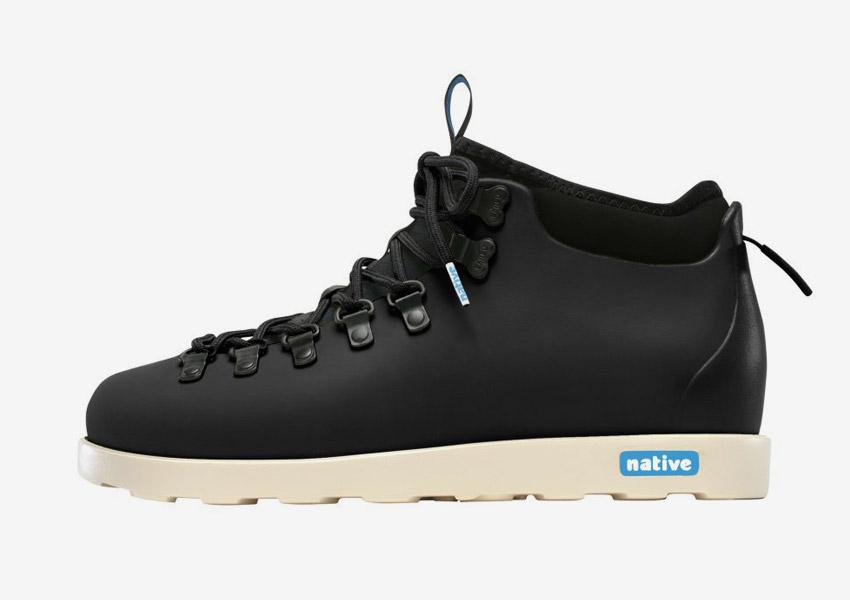 Native Shoes — zimní boty, veganské, černé, plastové, voděodolné, pohorky — pánské, dámské — Fitzsimmons