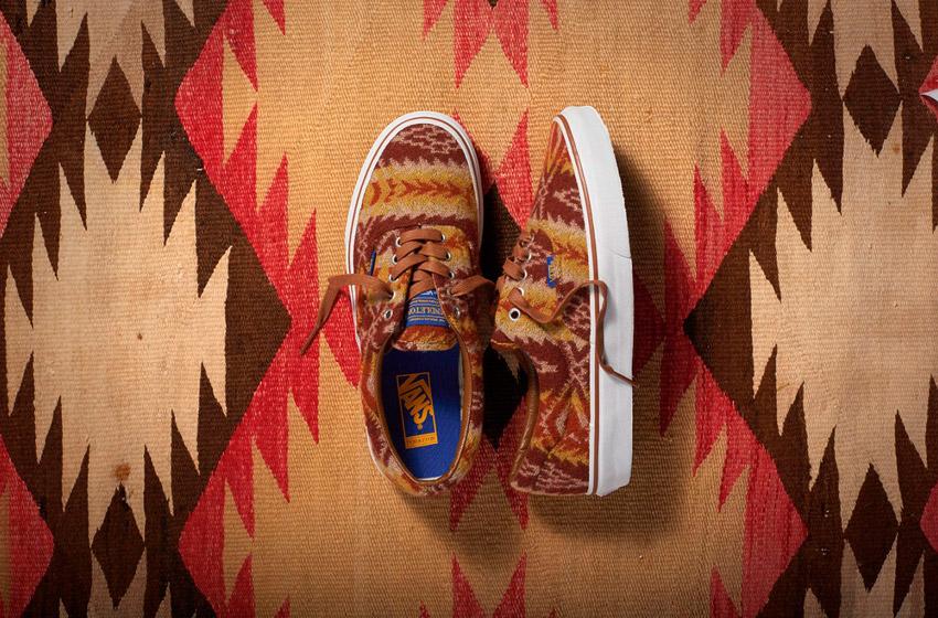 Vans x Pendleton — Era — zateplené tenisky, vlněné boty se vzory — béžové, hnědé — dámské, pánské