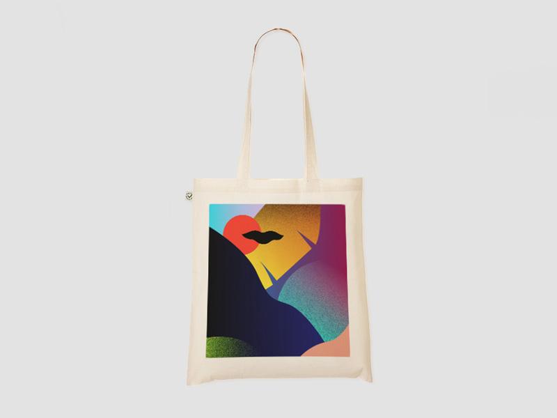 MAMAMA — krémová nákupní plátěná taška Dusk Tote Bag, abstrakce — kolekce COP21